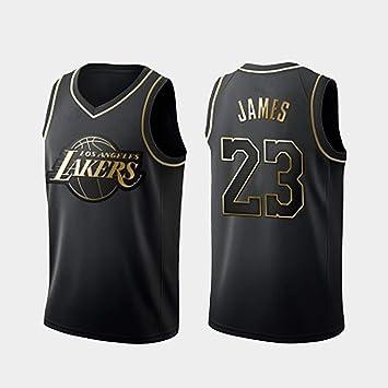 SLM-max Hombres Jersey NBA, Lakers No. 23 James Negro Oro Bordado Camiseta de Baloncesto, de Fibra de poliéster: Amazon.es: Deportes y aire libre
