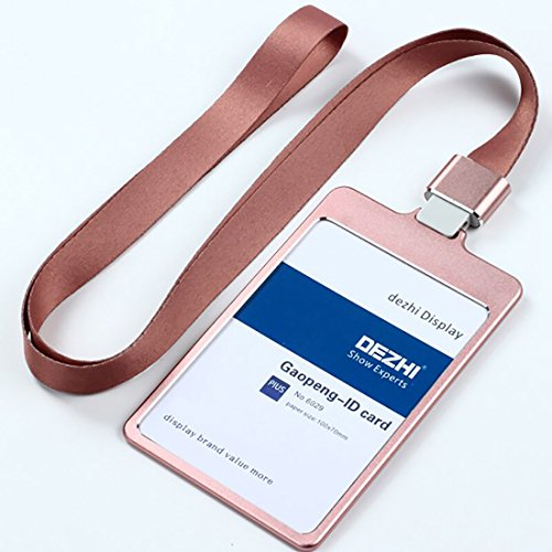 (Colorful Metal Badge Holder 100x70mm Plus Style Exhibition Staff Access Card Holders with Lanyard,LOGO Custom, Office&School Supplies(rose gold, with solid)