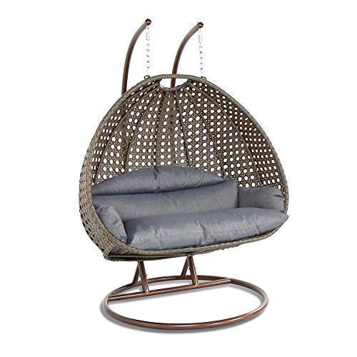 Island Gale Luxury 2 Person Wicker Swing Chair ((2 Person) X-Large, Latte Rattan/Charcoal Cushion)