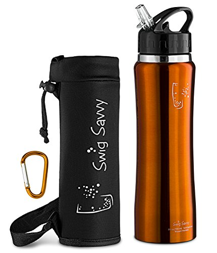 Swig Savvy Stainless Steel Insulated Leak Proof Flip Top Straw Cap Water Bottles With Pouch   Clip  24Oz  Orange