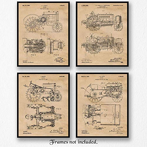 Original John Deere Tractor Patent Art Poster Prints - Set of 4 (Four8x10) Unframed Pictures - Great Wall Art Decor Gifts Under $20 for Home, Office, Garage, Man Cave, Teacher, Farmer, Rancher, Cowboy