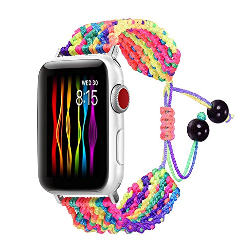 Bandmax Rainbow Band Compatible for Apple Watch 42MM 44MM, Colorful Rope iWatch Series 4/3/2/1 Nylon Wristband Accessories Handmade Weave Straps Bohemia Braided Bracelet with Flexible Drawstring Clasp