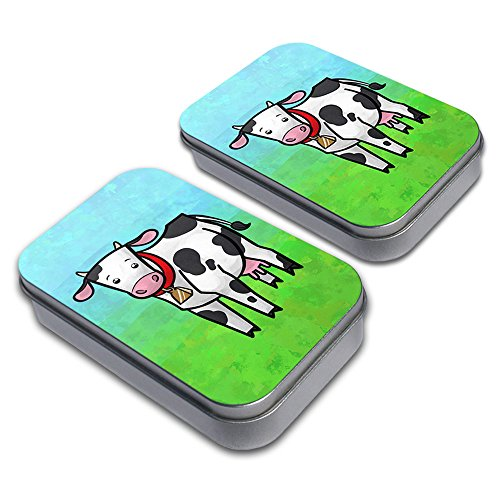 Udderly Cute Cow Decorative Craft Trinket Metal Tin Box Set of 2