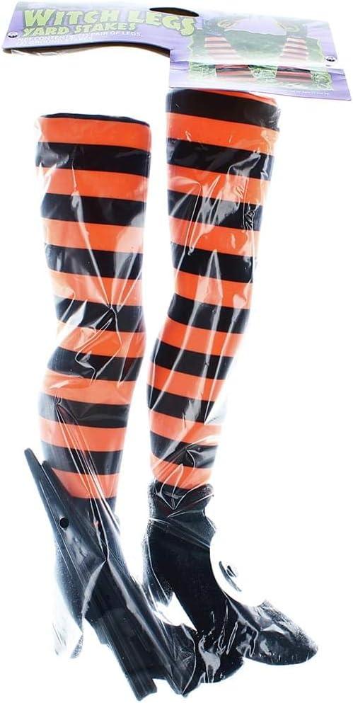 Fun World Striped Witch Legs Yard Stakes Orange