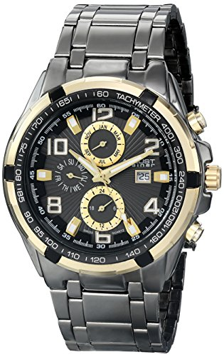 August Steiner Men's AS8127YGB Yellow & Gold Multifunction Swiss Quartz Watch with Black Dial and Gray Bracelet