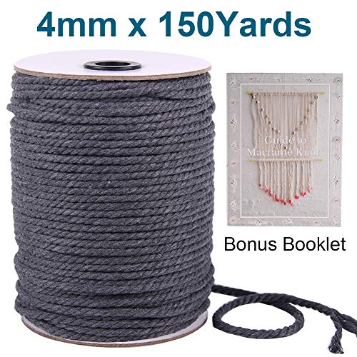 XKDOUS Macrame Cord Cotton Rope Grey 4mm, Gray Colored Macrame Rope, Triple-Strand Cotton Cordage for Sports, Décor, Pet Toys, Crafts, Macramé Supplies Kit, Indoor Outdoor Use, Knitting & Crocheting