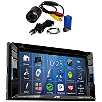 JVC KW-V130BT Double DIN Bluetooth In-Dash DVD/CD/AM/FM Car Stereo Receiver w/Touchscreen with PYLE PLCM22IR Flush Mount Rear View Camera with 0.5 Lux Night Vision