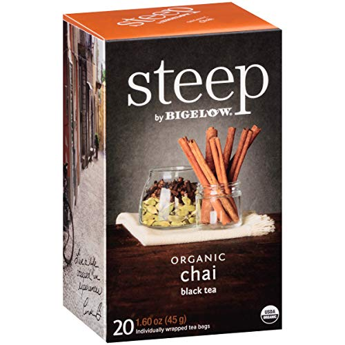 (Steep by Bigelow Organic Chai Tea 20 Count (Pack of 6), 120 Tea Bags Total.  Organic Caffeinated Individual Black Tea Bags, for Hot Tea or Iced Tea, Drink Plain or Sweetened with Honey or Sugar)