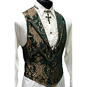 Shrine Gothic Aristocrat Victorian Tapestry Vintage Green Gold Retro Steampunk Jacket Vest