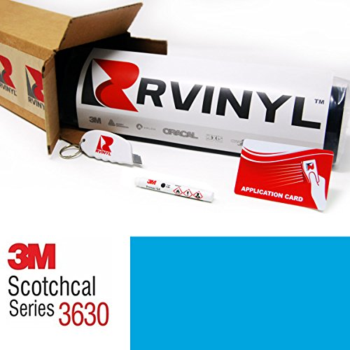 3M 3630 PROCESS BLUE 337 2ft x 10yd W/ Application Kit Scotchcal Translucent Graphic Vinyl Film Sheet Roll - for Cricut, Silhouette Cameo, Craft and Sign Cutters by Rvinyl