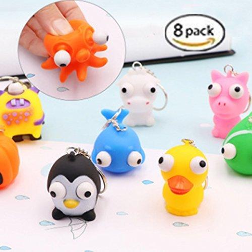 8 Pack Raised Eyes Doll Anti Stress Ball Vent Animal Keychain Squeezing Toys, Random Style