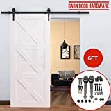 6.0FT Easy to Install Steel Sliding Rail Barn Doors Hardware Carbon Steel Closet Track Rail Kit For Single Door-black/coffe (coffe)