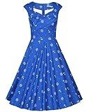 MUXXN Women's BBW Knee Length Party Plus Size Dress (Blue Pattern XXL)