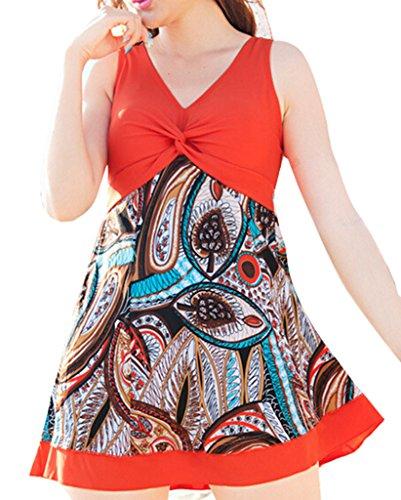 Z-SHOW Women's Halter Shaping Body Two-Piece Swimsuit Plus Size Swimwear(Lily Orange,M)
