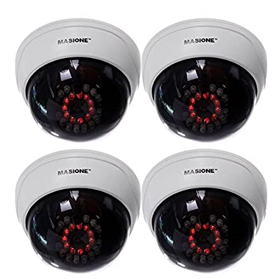 Masione 4 Pack Indoor CCTV Fake Dummy Dome Security Camera with Flashing Red IR LEDs Light from MASIONE