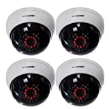 Masione 4 Pack Indoor CCTV Fake Dummy Dome Security Camera with Flashing Red IR LEDs Light