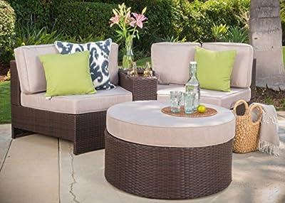 Riviera Positano Outdoor Patio Furniture Wicker 4 Piece Semicircular Sectional Sofa Seating Set w/ Waterproof Cushions (Standard Ottoman, Beige)