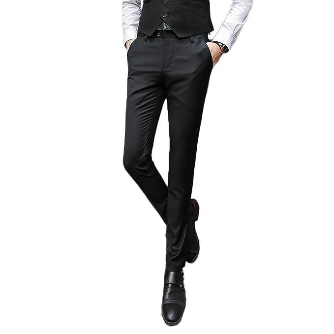 Amazon.com: AK belleza para hombre Slim Fit pantalones traje ...