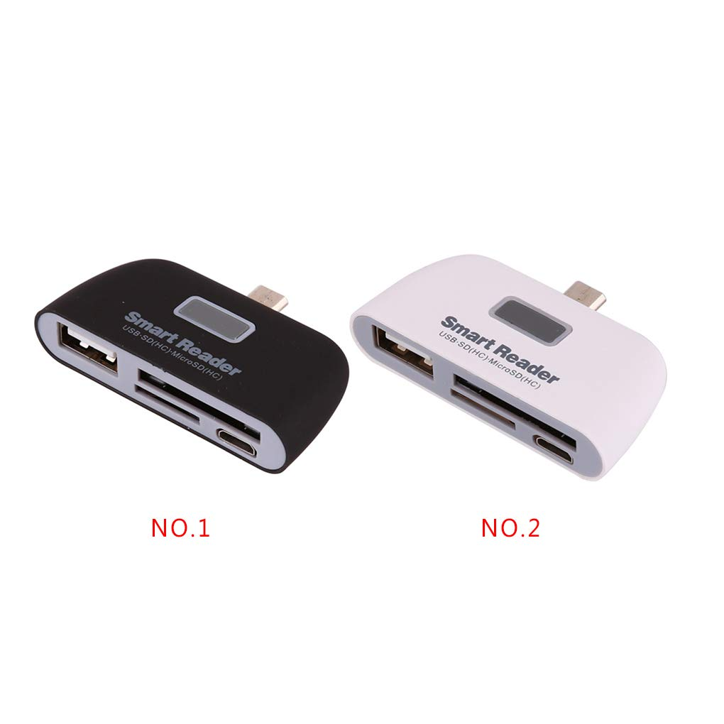 Laileya 4-en-1 Multifonction USB 2.0 OTG SD TF Smart Card Reader Micro USB Charge Port de Remplacement pour Andriod Phone Tablet
