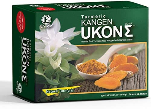 Kangen UKON Organic 650mg Turmeric Oil Capsules with Niacin Flaxseed Primrose Olive Oil Concentrated Anti-Oxidizing Super Vitamin E Zinc Magnesium 100 Capsules