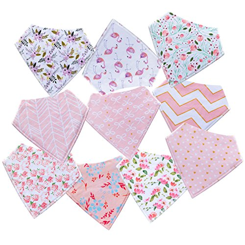 10-Pack Baby Girl Bandana Drool Bibs for Drooling and Teething by MiiYoung by MiiYoung (Image #7)