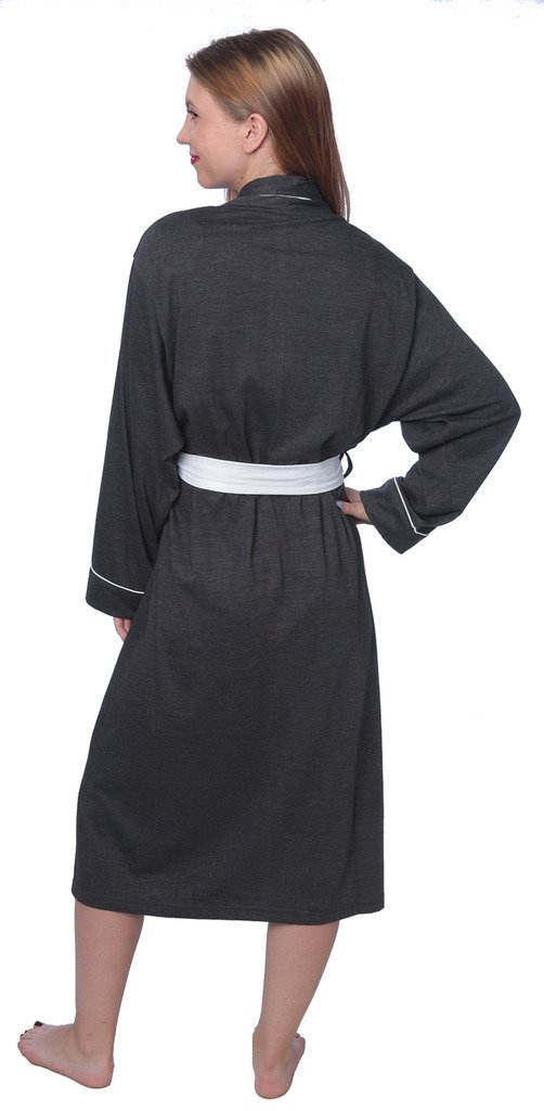 Women's Soft Jersey Knit Cotton Blend Wrap Robe Sleepwear with Piping Finish Y18_WJR01 Charcoal 3X by Beverly Rock (Image #3)