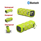 RICH Wireless Portable Bluetooth Speaker, Waterproof Super Bass Outdoor Water Resistant Spaerker + Power Bank for Cellphone Tablet and PC (Green)