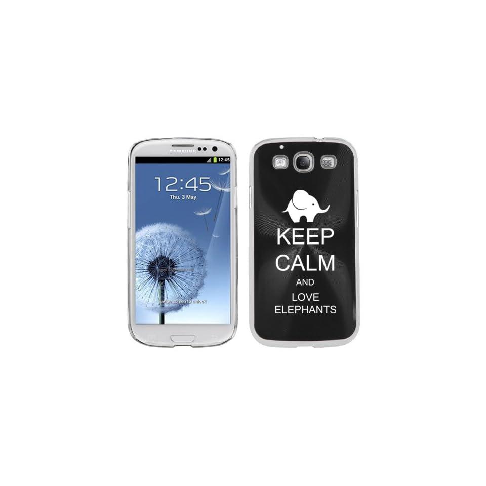 Black Samsung Galaxy S III S3 Aluminum Plated Hard Back Case Cover K1192 Keep Calm and Love Elephants