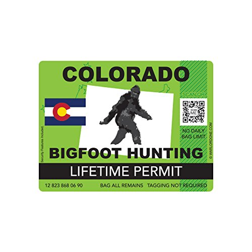 Colorado Bigfoot Hunting Permit Sticker Die Cut Decal Sasquatch Lifetime FA Vinyl