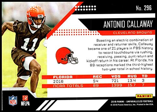 Amazon.com  2018 Panini Unparallel NFL  296 Antonio Callaway RC Rookie  Cleveland Browns Rookie Panini Football Trading Card  Collectibles   Fine  Art caf05e2dd