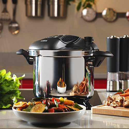 -[ Tower Pro T90103 One Touch Pressure Cooker, 6 Litre, Stainless Steel  ]-