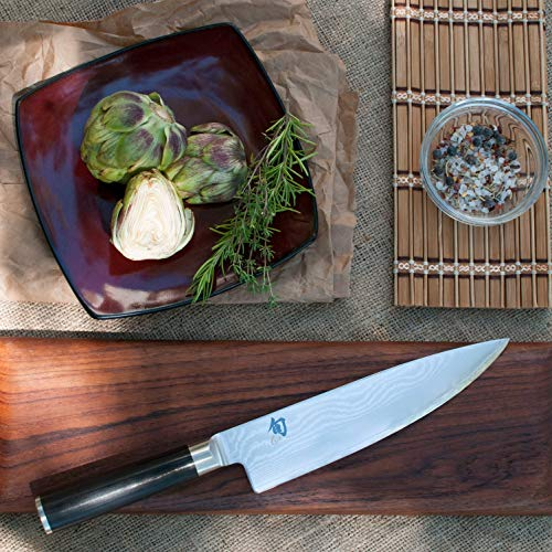 "Shun Classic 8"" Chef's Knife with VG-MAX Cutting Core and Ebony PakkaWood Handle; All-Purpose Blade for a Full Range of Cutting Tasks with Curved Blade for Easy Cuts; Cutlery Handcrafted in Japan"