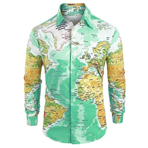 Willow S Men 2019 New Personality Casual World Map Print Stand Collar Long/Short Sleeve with Button Shirt Top Blouse Green