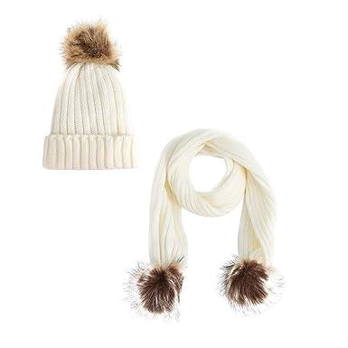 DODUMI Bonnet Chaud Chapeau Femme Hiver Enfants Chapeaux écharpe Deux  pièces Ensemble Crochet tricoté Laine épaissie Laine Molleton tricoté Pois  Raton ... 901066fff36