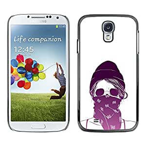 GOODTHINGS ( NO PARA S4 Mini ) Funda Imagen Diseño Carcasa Tapa Trasera Negro Cover Skin Case para Samsung Galaxy S4 I9500 - púrpura bufanda del cráneo blanco en protesta