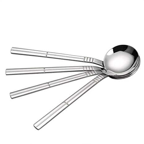 Amazon.com: Saedy cuchara de sopa redonda de acero ...