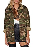 Richkoko Women Casual V Neck Pockets Zipper Button Boyfriend Camo Jacket(XXL,Green)