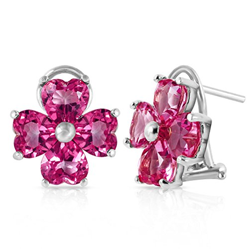 7.6 Carat 14K Solid White Gold French Clips Earrings Natural Pink Topaz