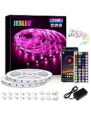 JESLED taśma LED RGB 5050, zmiana kolorów, taśma LED z kontrolerem Bluetooth, synchronizacja muzyki, zastosowanie do sypialni, na imprezę i jako dekoracja wakacyjna