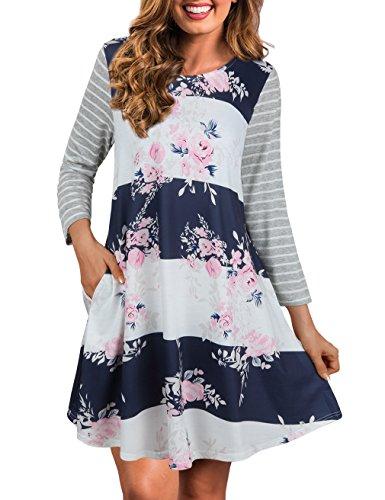 blue 3 quarter sleeve dress - 9
