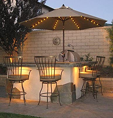 Patio Umbrella Lights, Remote Control and Timer, 8-Ribs 104 LED String Decor Lights Battery Operated for Restaurant Coffee Shop Outdoor Garden Backyard Holidays Party