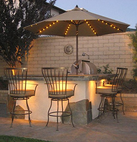 Patio Umbrella Lights, Remote Control And Timer, 8 Ribs 104 LED String Decor