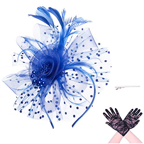 - SAFERIN Fascinator Hat Feather Mesh Net Veil Party Hat Flower Derby Hat with Clip and Hairband for Women with Lace Glove (TA7-Sapphire Blue with Glove)