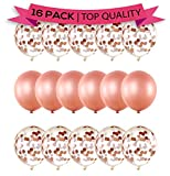 LIMITLESS Large 18-Inch Rose Gold Confetti Balloons - Pack of 16 Pre-Filled Confetti Balloons. Great for Weddings, Birthdays, Anniversaries, Bridal/Baby Showers!