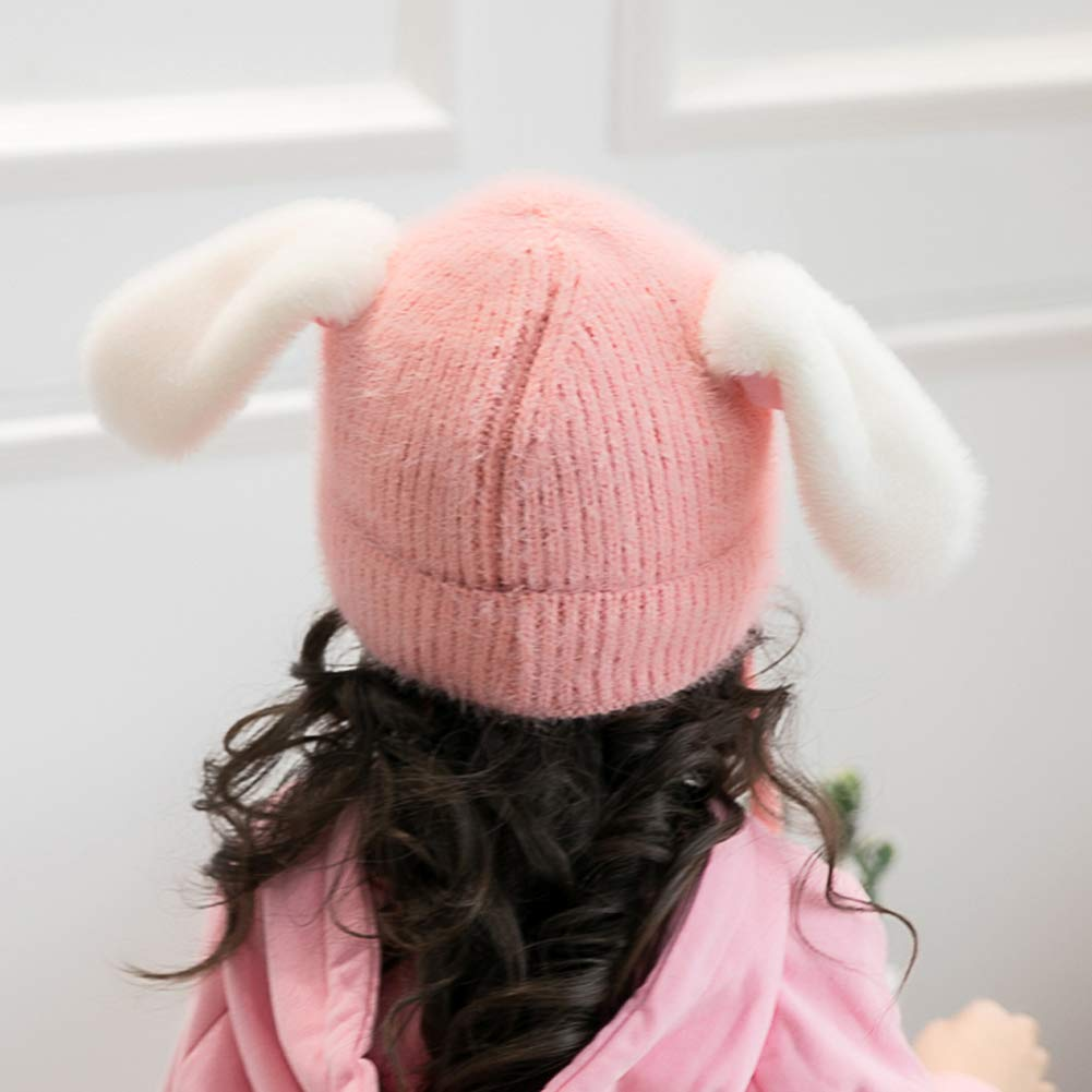 do.Cross Kids Toddler Baby Winter Warm Cartoon Knit Hat Movable Pom Cap with Lovely Earflap