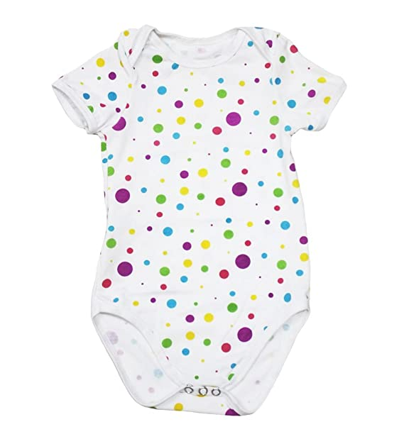 Petitebelle cumpleaños Rainbow lunares algodón Mono Body Bebé Pelele nb-18 m Blanco multicolor Small