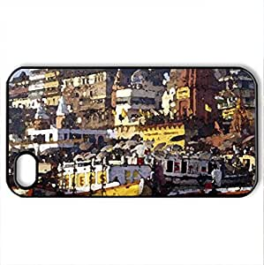LANDING IN INDIA - Case Cover for iPhone 4 and 4s (Watercolor style, Black)