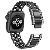 NO1seller Top Bands Compatible for Apple Watch 38mm 42mm, Bling Metal Cowboy Style Bracelet Strap Replacement Wristband for Apple Watch Series 4 40mm 44mm 3/2/1,Sport,Nike+,Edition