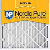 Nordic Pure 24x24x2 MERV 10 Pleated AC Furnace Air Filter,  Box of 3