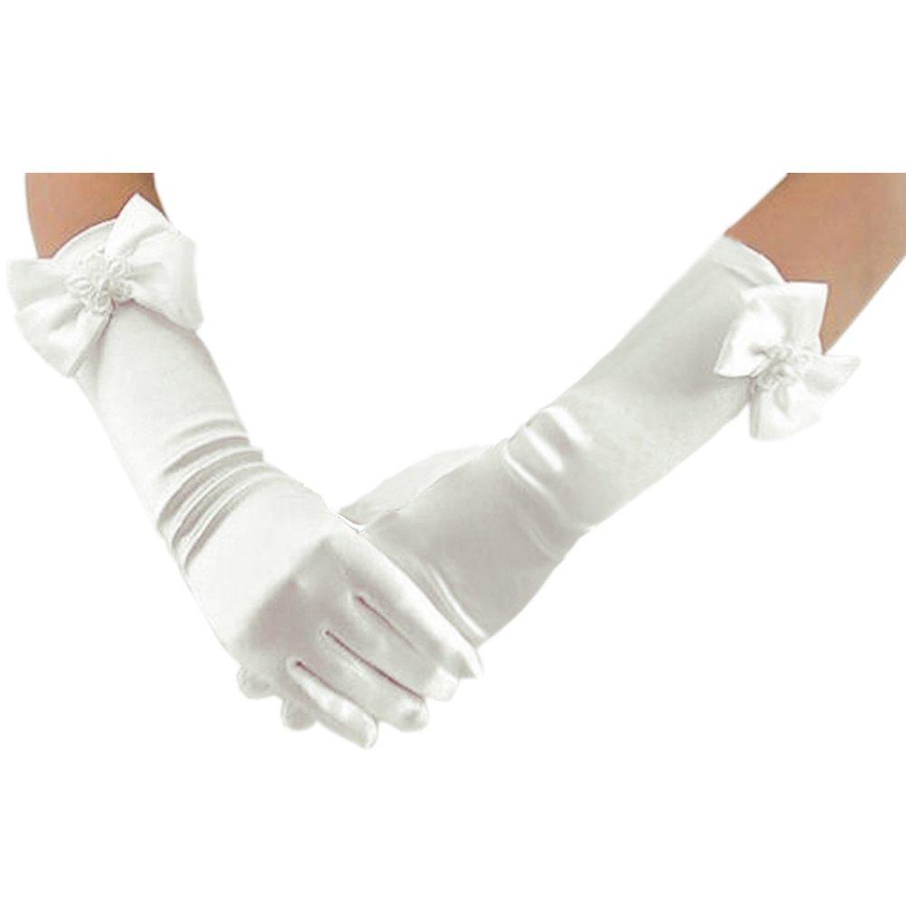 Deceny CB Long Gloves for Flower Girls Princess Gloves for Wedding Formal Gloves (White)